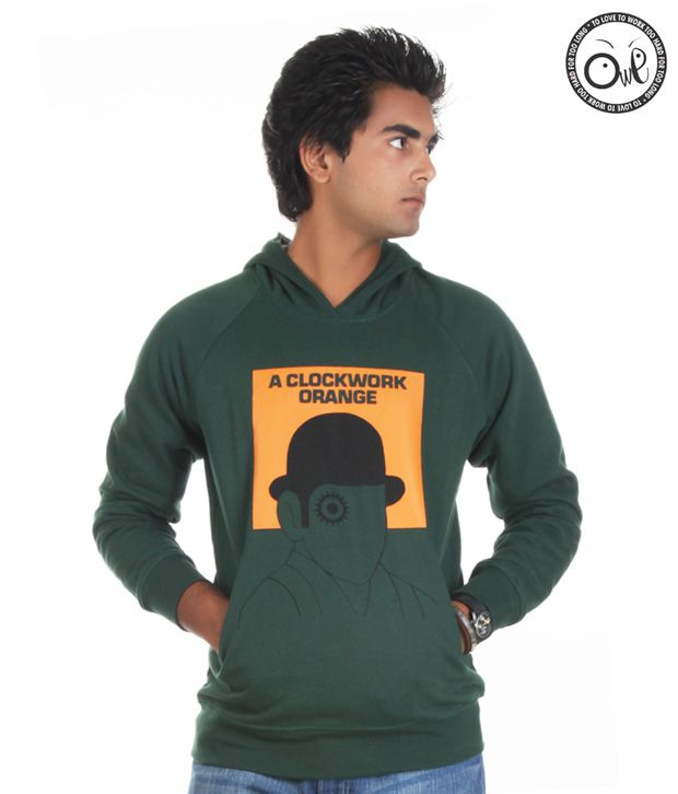 OWL Green Hooded Sweatshirts for men