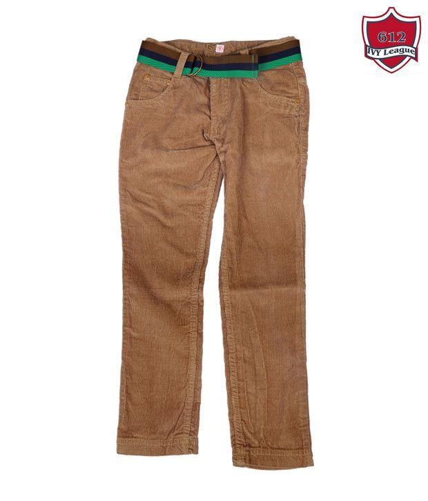 612Ivyleague Smart Brown Cotton Trouser
