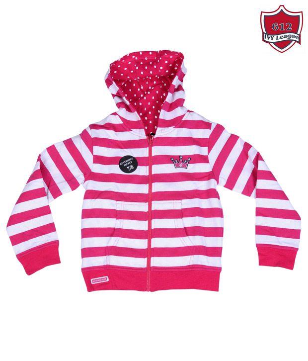 612Ivyleague Pink & White Hooded Sweatshirt