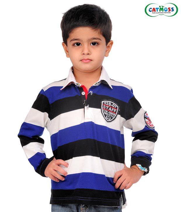 Catmoss Blue & Black Striped T-Shirt For Kids