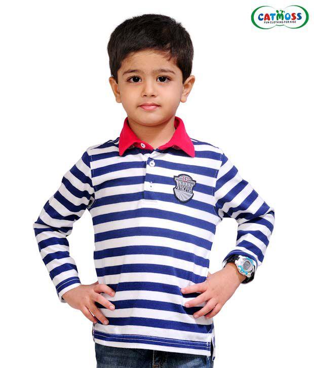 Catmoss Vibrant Blue & White Striped T-Shirt For Kids