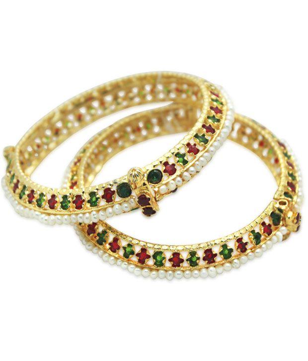 Prisha Stunning Gold Plated Pearl Bangles