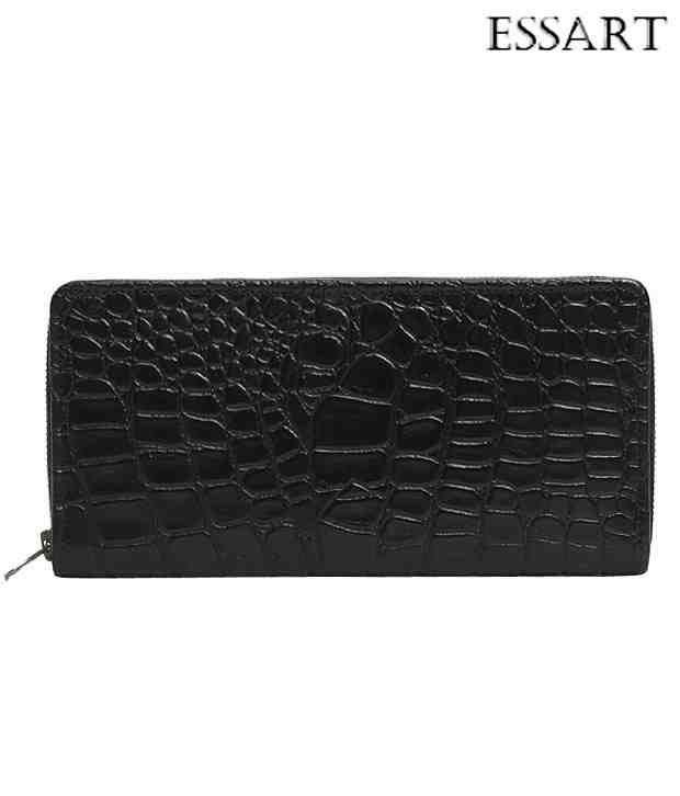 Essart Charming Black Croc Embossed Wallet