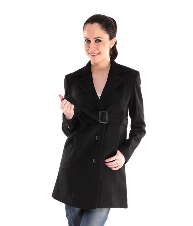 Hues Black Tweed Belted Overcoat