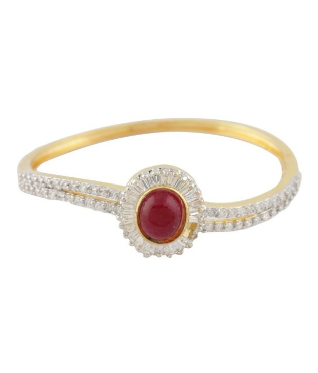 Styleos Red Sun CZ Studded Bangle