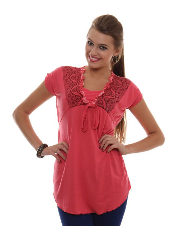 Sepia Red Poly Cotton Tops