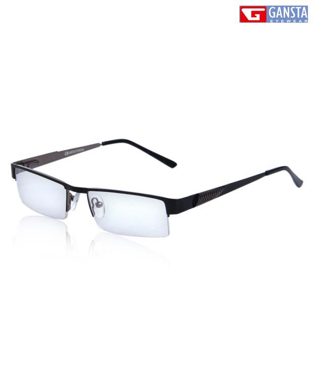 Gansta Spiffy Black Rectangular Optical Frame