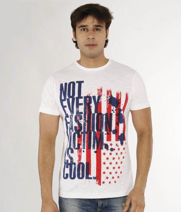 A for F White Cotton Slub T-Shirt