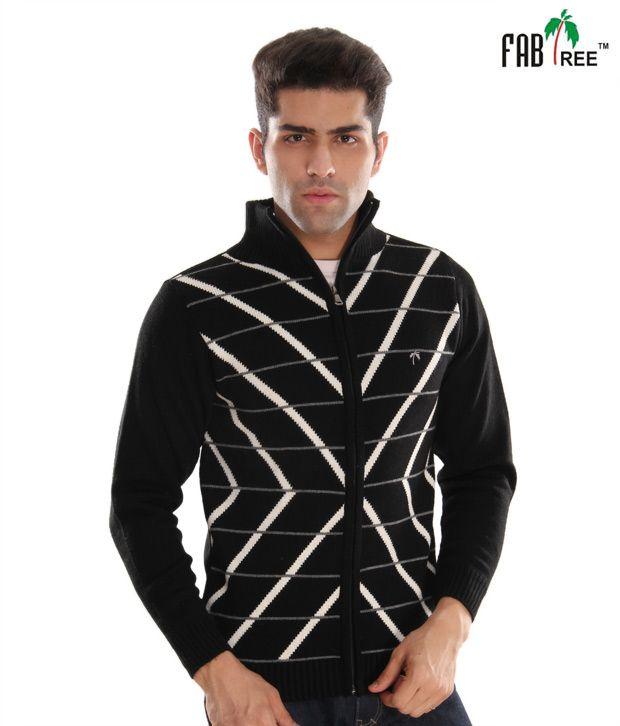Fabtree Smart Black Striped Men's Sweater