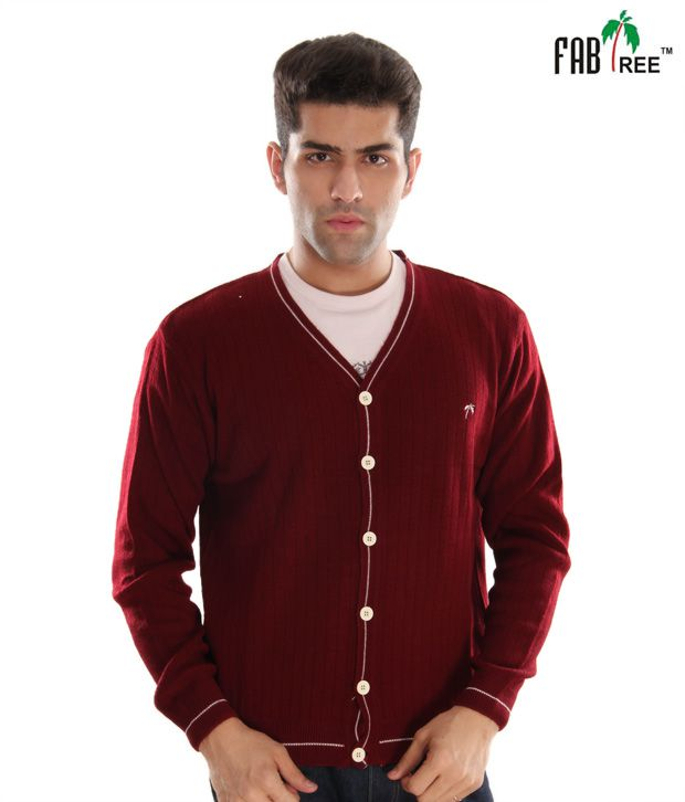 Fabtree Maroon Full Button Sweater