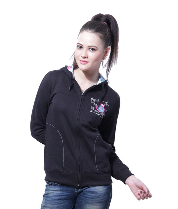 Fort Collins Black Zipper Hooded Sweatshirt