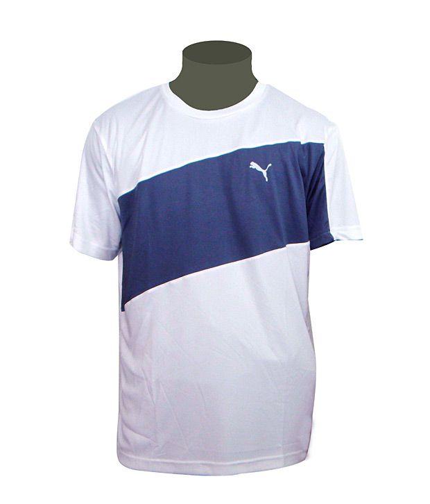 Puma White Round Neck T Shirt
