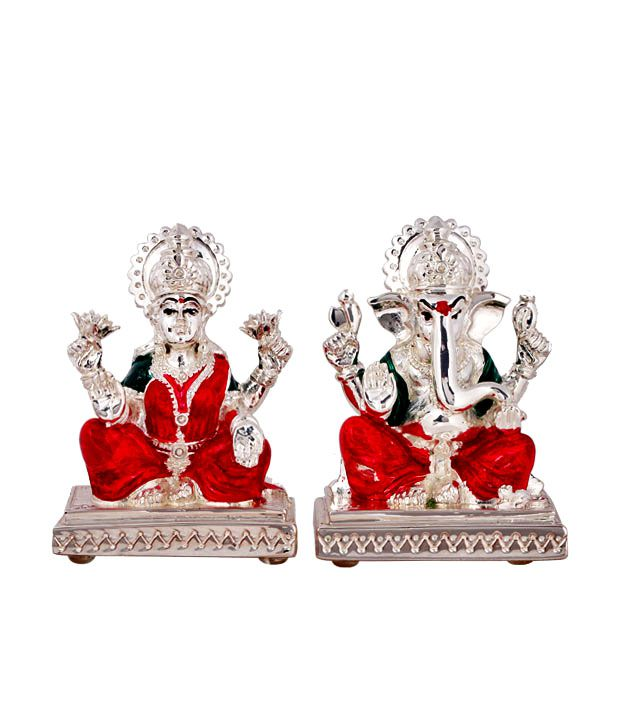Shanti Holy Pair Of Lakshmi Ganesha Silver Coated Idols