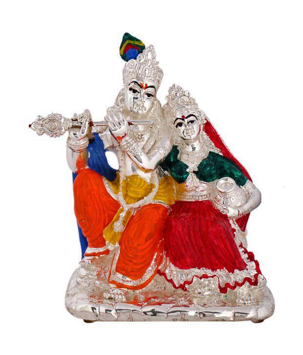 Shanti Sacred Radha Krishna Silver Coated Idol