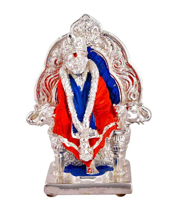 Shanti Sacred Sai Baba Silver Coated Idol