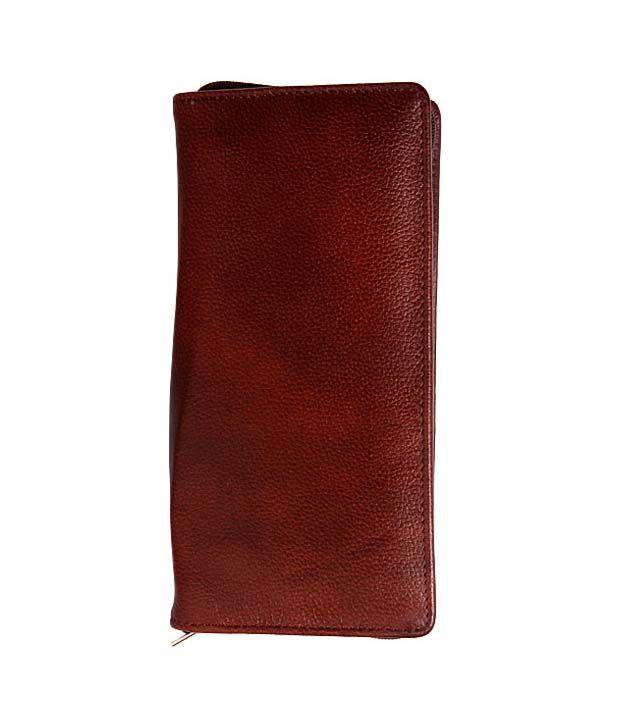 Deeanuz Dark Brown Textured Passport Wallet
