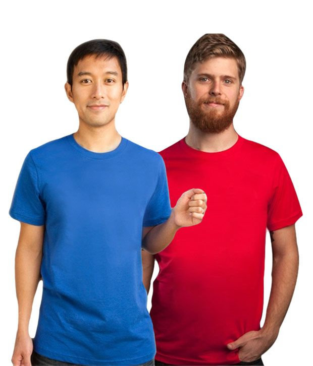 Loveusale RoyalBlue-Red Pack of 2 Round Neck T shirts