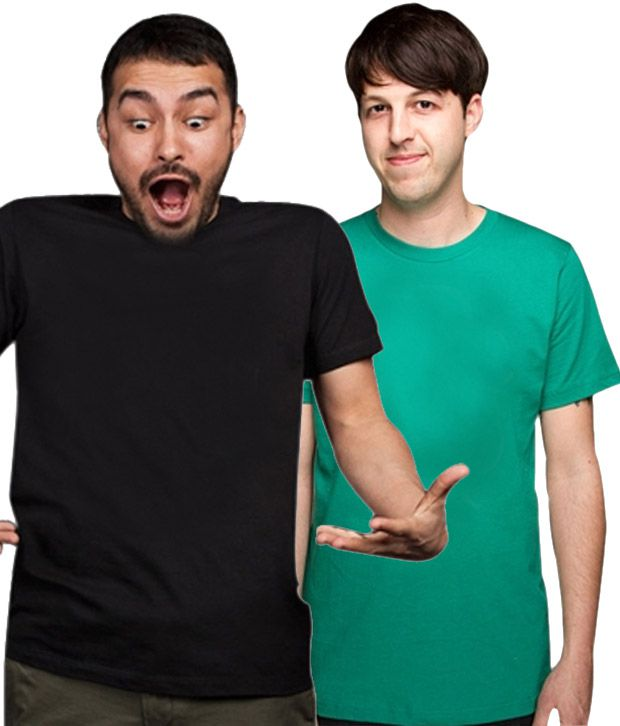Loveusale Black-Green Pack of 2 Round Neck T shirts