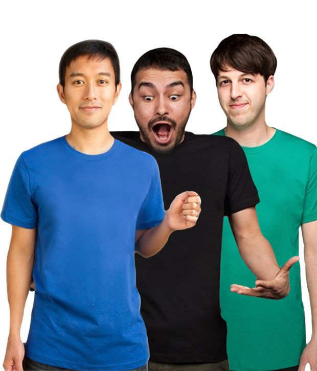 Loveusale RoyalBlue-Black-Green Pack of 3 Round Neck T shirts