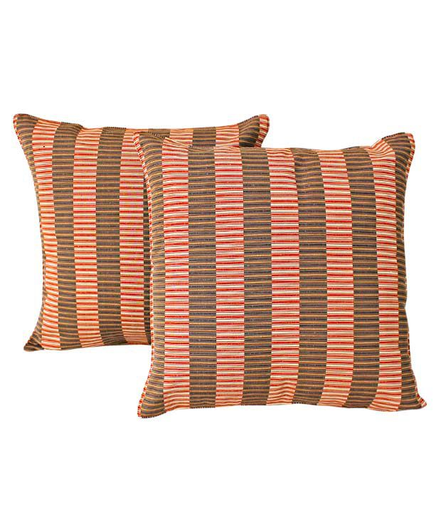 Dekor World Set of 2 Striped Cushion Covers (16x16 inches)
