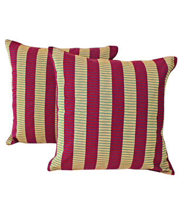 Dekor World Set of 2 Cushion Covers With Stripes (16x16 inches)