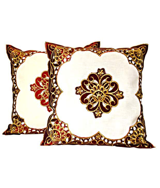 Dekor World Floral Cushion Covers- Set of 2 (16x16 inches)