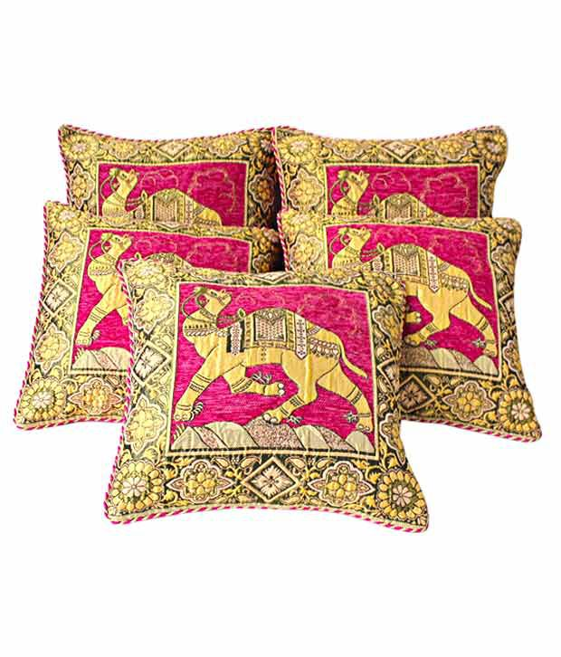 Dekor World Camel Jacquard Cushion Covers- 5 Pcs (16x16 inches)