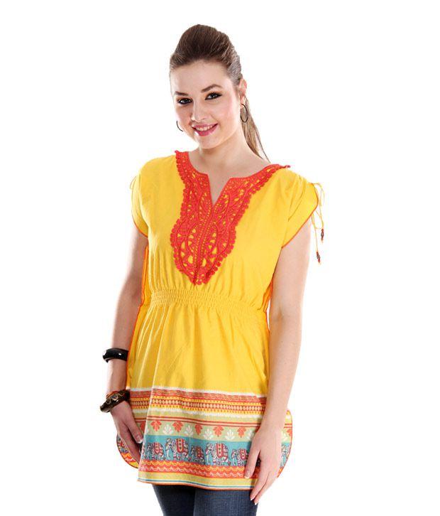G Yellow Cotton Tunic Kurti