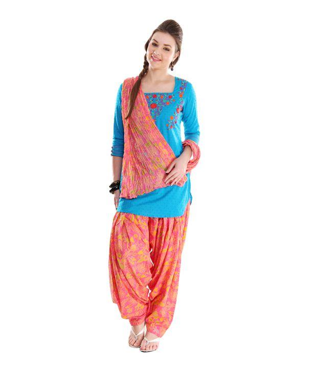 G Printed Pink-Yellow Patiala Salwar With Dupatta