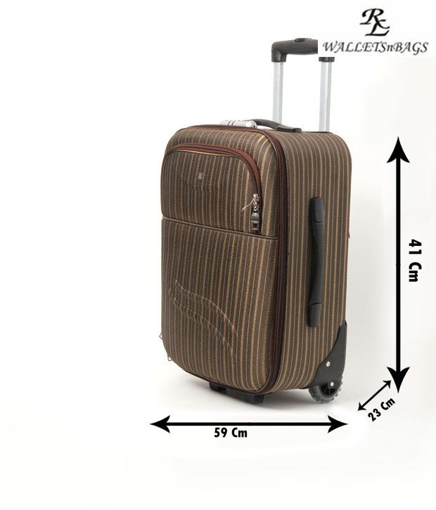 WalletsnBags Military Green Striped Trolley Luggage