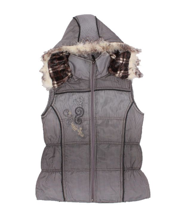 Fort Collins Grey Checkered Hooded Jacket For Kids