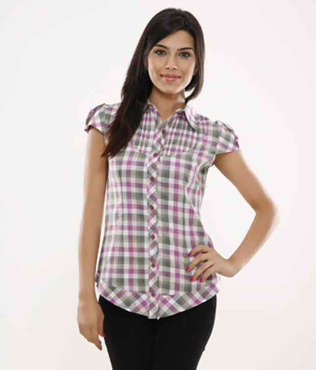 Fort Collins White Checkered Top