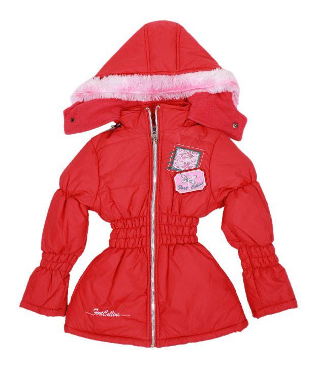 Fort Collins Red Fur Hood Jacket For Kids