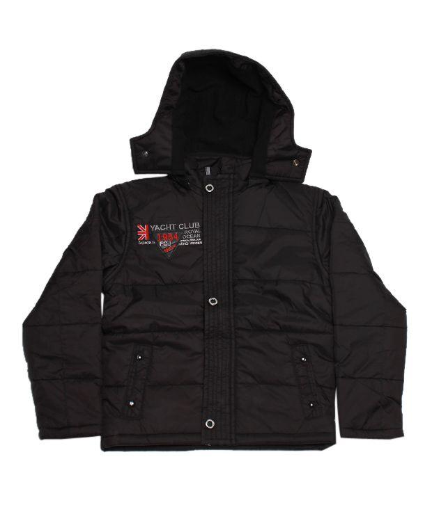 Fort Collins Smart Black Hooded Jacket For Kids