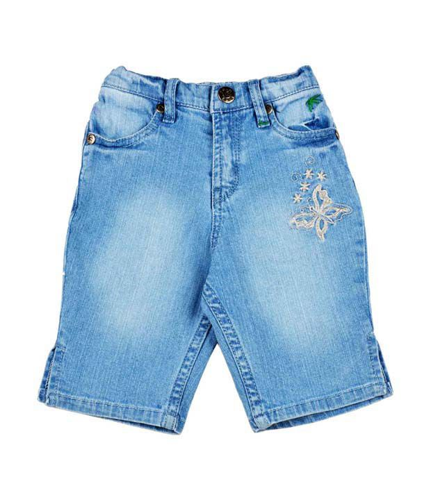 Palm Tree Cotton Blue Capri For Kids