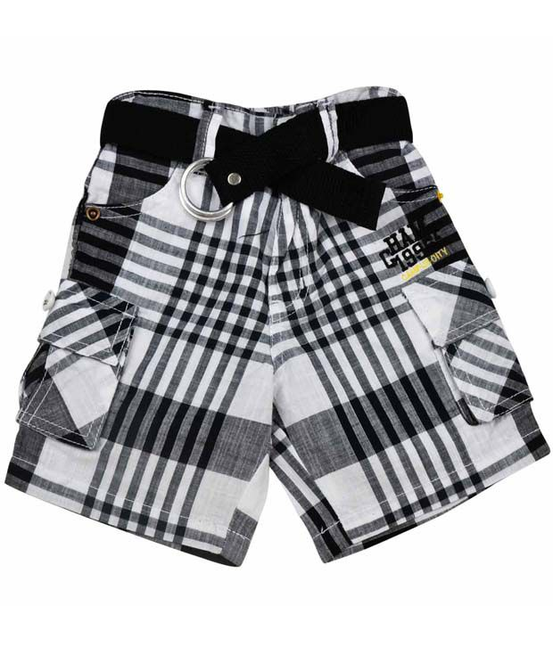 Ruff Black & White Checks Shorts With Belt For Kids