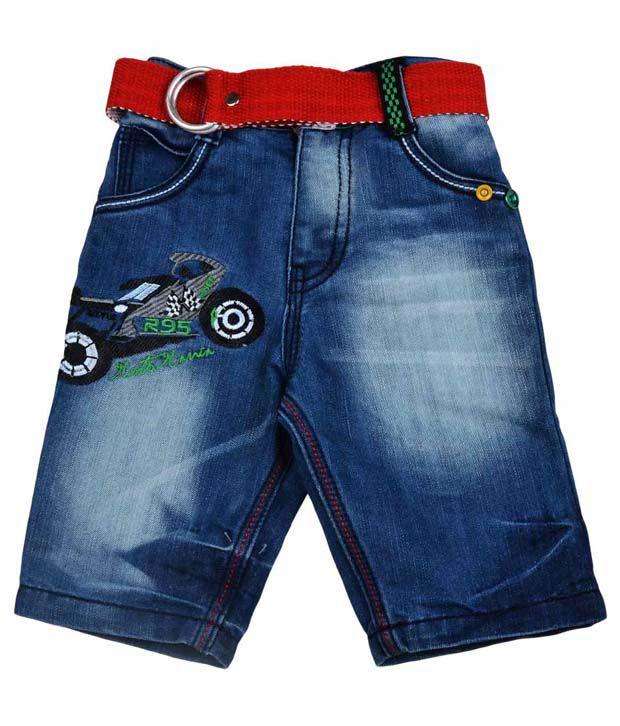 Ruff Blue Denim Capri & Belt For Kids