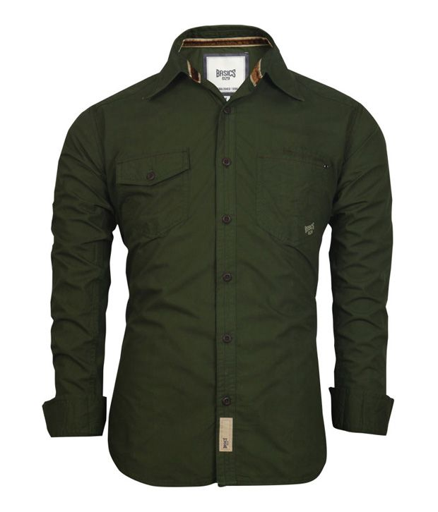 Best Buy Military Discount >> Basics 029 Dark Olive Green Shirt - Buy Basics 029 Dark Olive Green Shirt Online at Best Prices ...