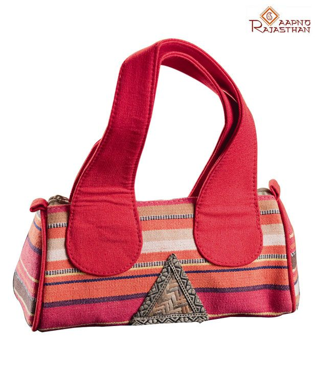 Aapno Rajasthan Red Stripes Design Jute Handbag