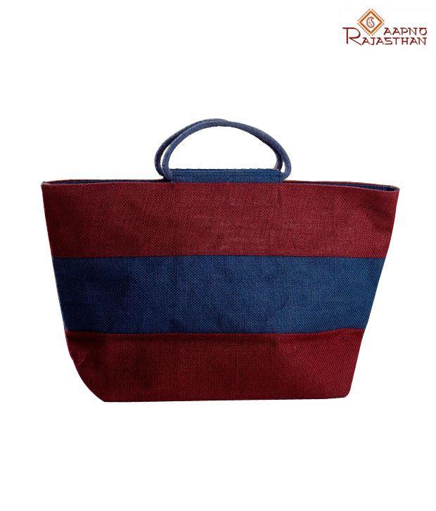 Aapno Rajasthan Maroon & Blue Jute Handbag