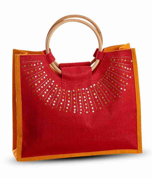 Aapno Rajasthan Red Sequins Work Jute Handbag