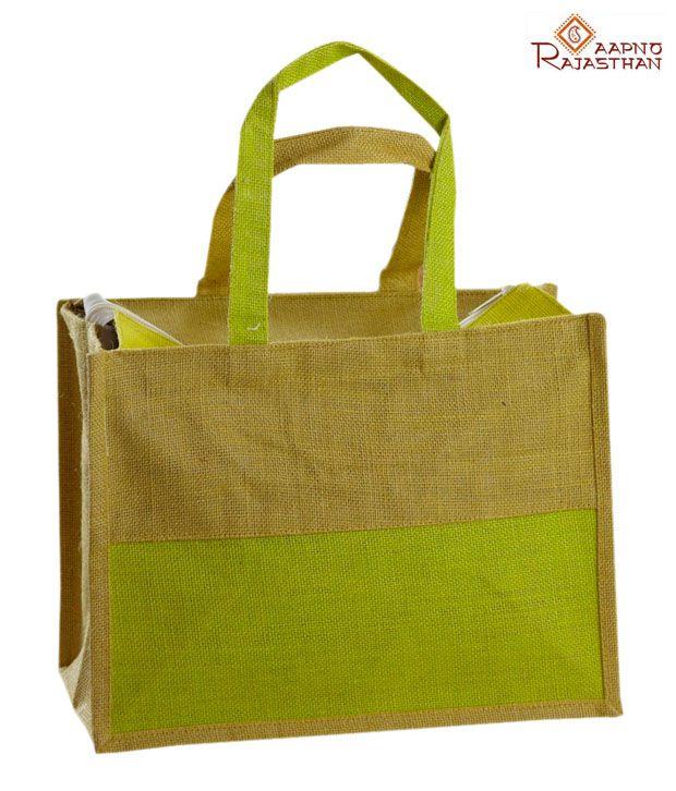 Aapno Rajasthan Twin Green Shades Jute Handbag
