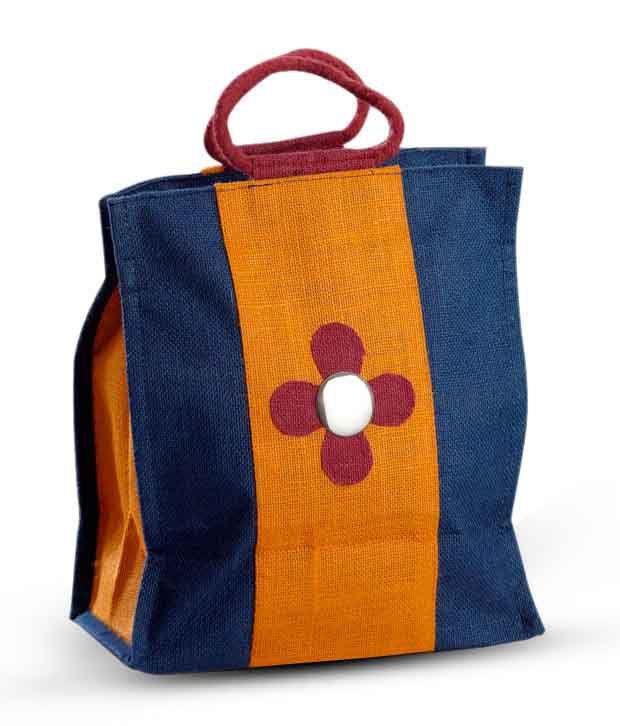 Aapno Rajasthan Orange & Blue Mirror Design Handbag