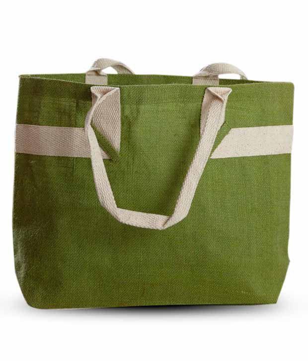 Aapno Rajasthan Green & White Jute Handbag