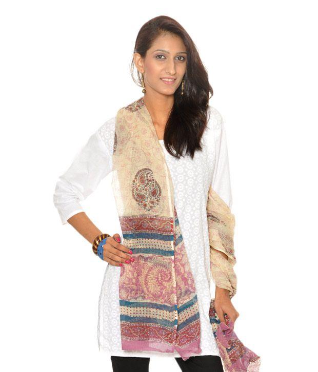 Abhiyuthan Designer Cream Dupatta