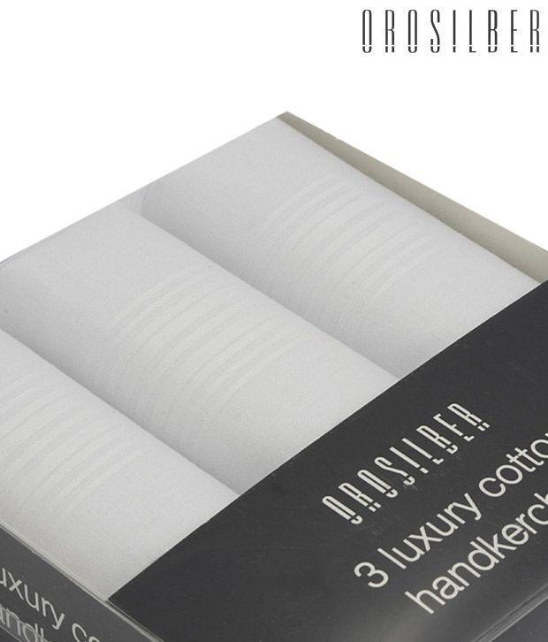 Orosilber White Luxury Handkerchiefs