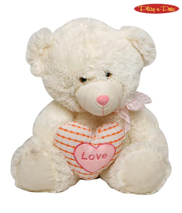 Play-n-Pets Large Pink & Cream Bear Heart Soft Toy