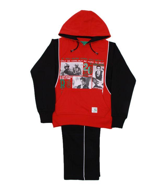 Fort Collins Red & Black Tracksuit For Kids