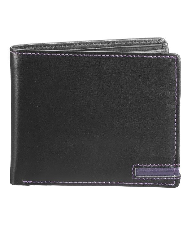 WalletsnBags Suave Black Contrast Stitch Wallet