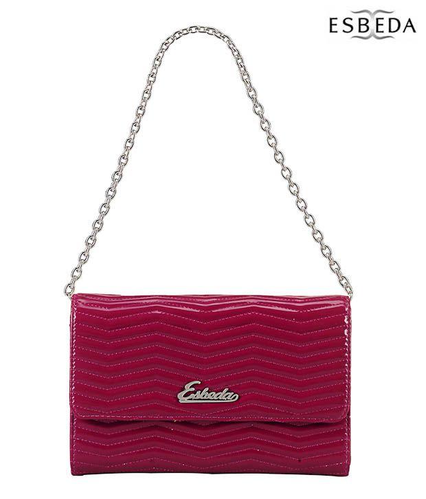 Esbeda Glamorous Dark Pink Wavy Quilted Clutch